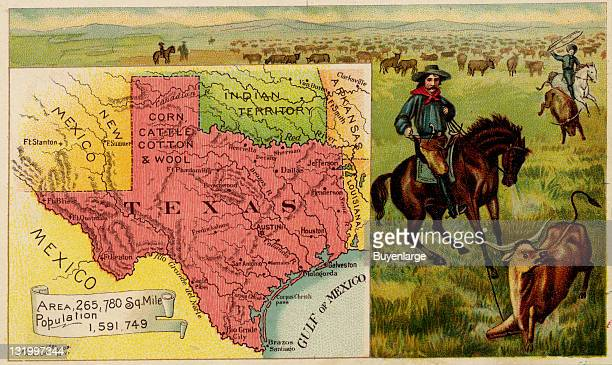Map from 'Arbuckles' Illustrated Atlas of the United States of America' produced by the Arbuckle Brothers Coffee Company depicts the state of Texas...