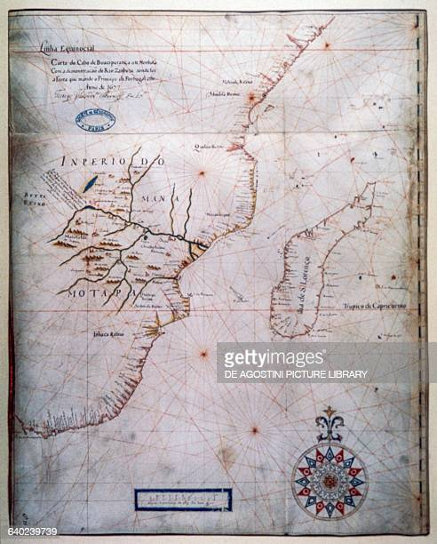 Map from the Cape of Good Hope to Mombasa showing the Zanbeze river where the fleet of the Prince of Portugal travelled by Joao Teixeira Albernas II...