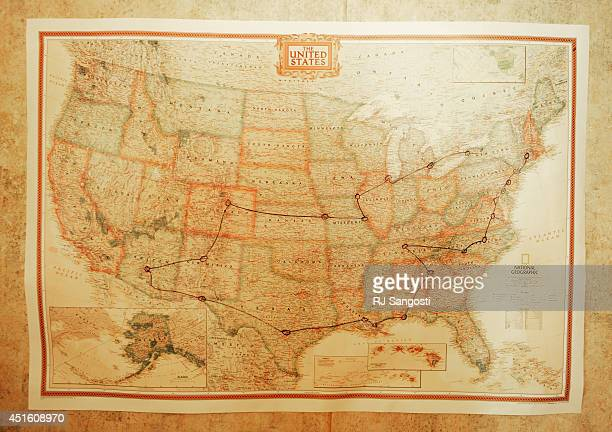 A map hanging in the Murset's RV showing the trip they will make this summer July 02 2014 The Murset family from Phoenix Arizona are spending the...