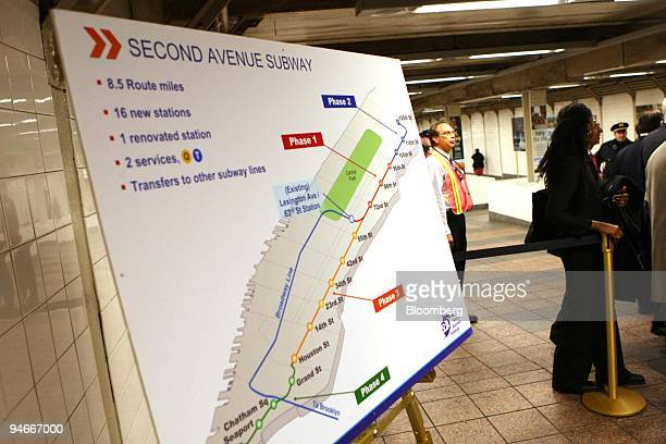 A map illustrates phases of the Second Avenue Subway at a news conference in New York US on Monday Nov 19 2007 The Federal Transit Administration...