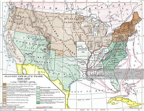 Map illustrates the development of abolition slavery and slave trade routes in the United States between 1830 and 1850 Published in 1920