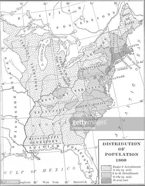 Map illustrates the distribution of population in the United States 1800 Population categories include 'Under 6 inhabitants per square mile' '6 to 46...