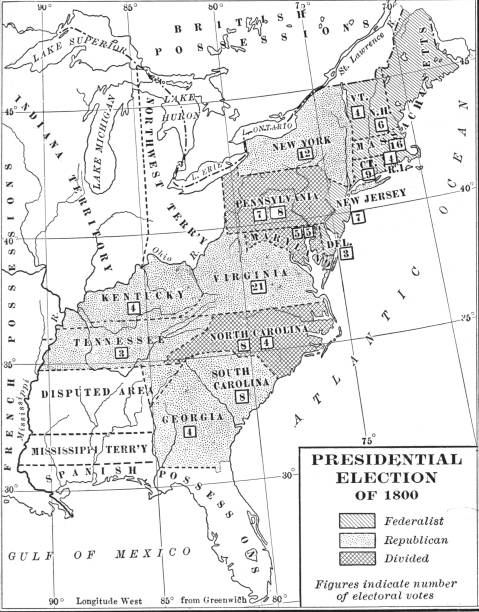 Map Of \'President Election Of 1800\' Votes Pictures | Getty Images