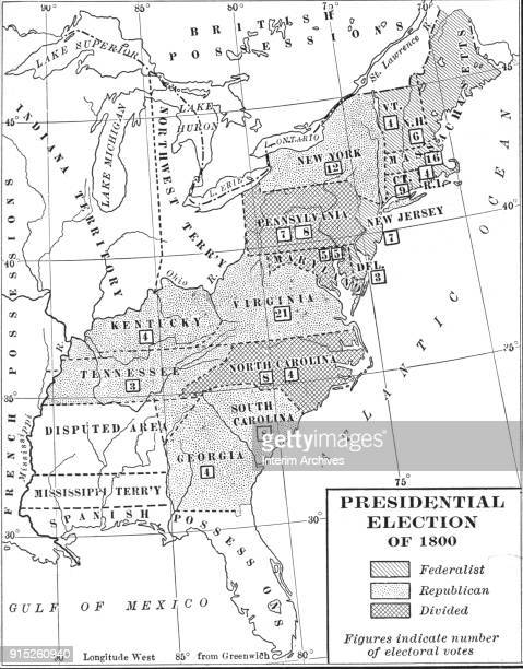 Map illustrates the electoral votes in the US Presidential election of 1801 [sic] late nineteenth century The number of electoral votes per state is...