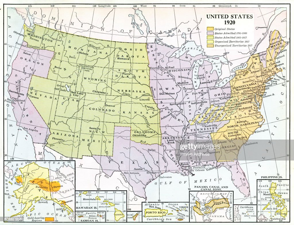 Us Map 1920.Map Illustrates The United States Of America 1920 Color Coded