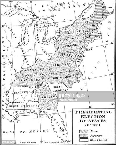 Map illustrates votes by state in the US Presidential election of 1800 late nineteenth century It is broken down as votes for Aaron Burr Thomas...