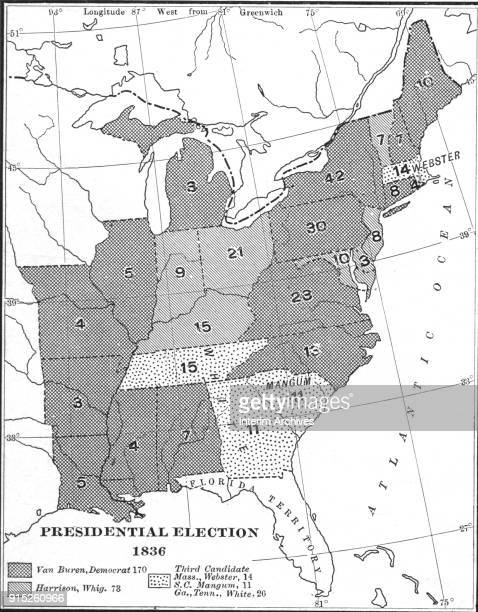 Map illustrates votes by state in the US Presidential election of 1836 late nineteenth century It is broken down as votes for Democrat Martin van...