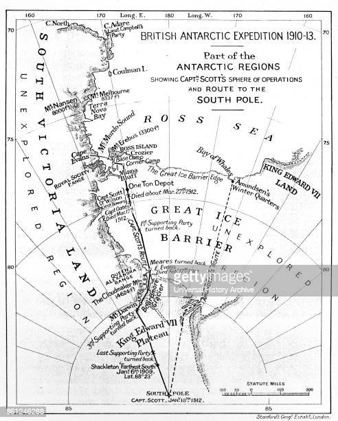 Map illustrating an Expedition of Captain Robert Falcon Scott a British Royal Navy officer and explorer of the Antarctic regions Dated 20th Century