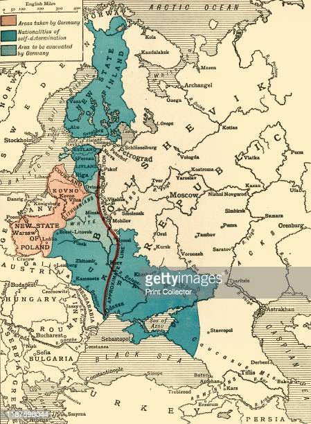 Map illustrating the BrestLitovsk Treaties' First World War circa 1918 Pink 'Areas taken by Germany' dark blue 'Nationalities of selfdetermination'...