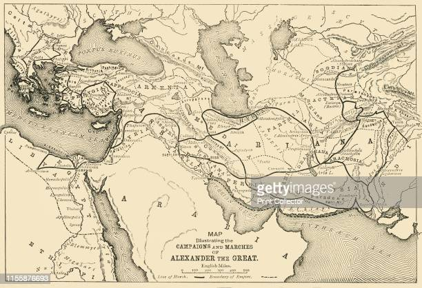 Map Illustrating the Campaigns and Marches of Alexander the Great', 1890. Alexander III of Macedon spent most of his ruling years on an unprecedented...