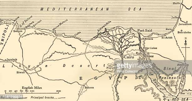 Map illustrating the Campaigns in Egypt from February to May 1916' Alexandria and the Nile delta Cairo Port Said the Suez Canal and the Sinai...