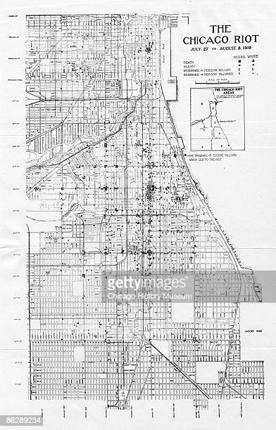 Map illustrating the spread and extent of the violence during the race riots, Chicago, 1919. The map highlights areas of death and injury, especially...