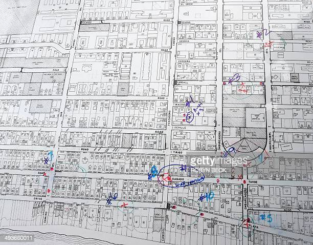 A map indicating multiple crime scene locations in the murderous rampage by suspect Elliot Rodger in Isla Vista yesterday is seen at a press...