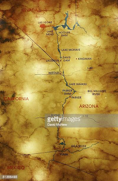 A map inside the visitors center of the Hoover Dam shows other dams downstream from Lake Mead to Mexico on September 24 2004 near Boulder City Nevada...