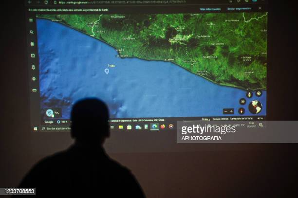 Map is displayed at a mission briefing during an exercise on June 28, 2021 in San Salvador, El Salvador.
