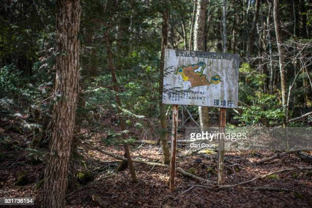 A map is displayed at the entrance to Aokigahara forest on March 13 2018 in Fujikawaguchiko Japan Aokigahara forest lies on the on the northwestern...