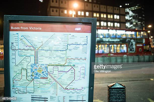 A map is displayed at the Victoria bus station on the first night of a planned 48 hour underground train strike disrupting thousands of comuters...
