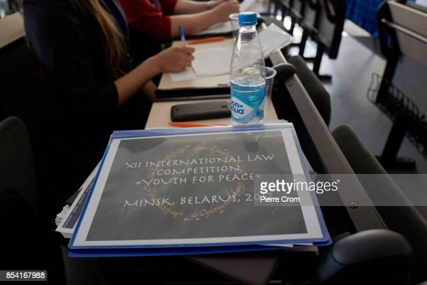 A map is seen on a desk as 28 international law students from the United Kingdom Belarus Russia Ukraine Armenia Kazakhstan and Moldova compete during...