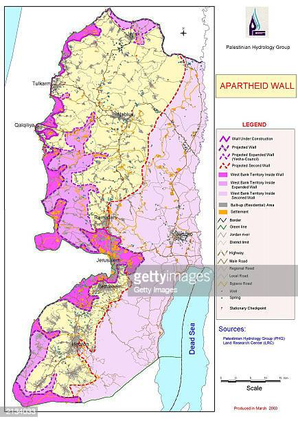 A map made available by the Palestinian Hydrology Group July 3 2003 shows different construction routes for Israel's separation fence in the West...