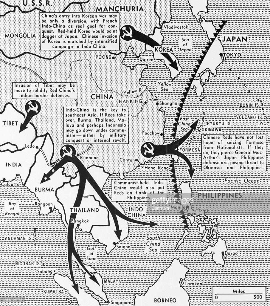 Map of communist advances in east asia pictures getty images a map made in 1950 depicts the domino theory the idea that one thecheapjerseys Images
