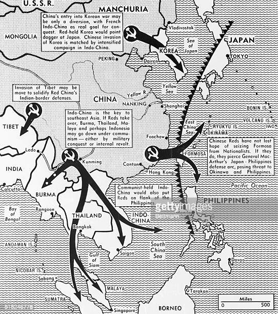 A map made in 1950 depicts the 'Domino Theory' the idea that one nation 'going Communist' would start a chain reaction of governmental change in the...