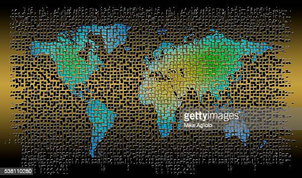 map made of small squares - mike agliolo stock photos and pictures