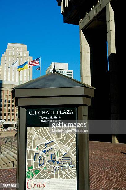 map of a locality in front of a building, boston city hall, boston, massachusetts, usa - city hall plaza boston stock photos and pictures