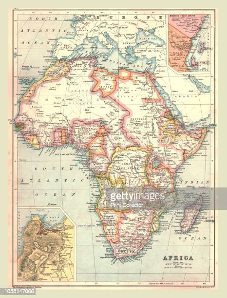 Map of Africa 1902 Showing colonial possessions including French West Africa and German South West Africa with insets of Table Bay in South Africa...