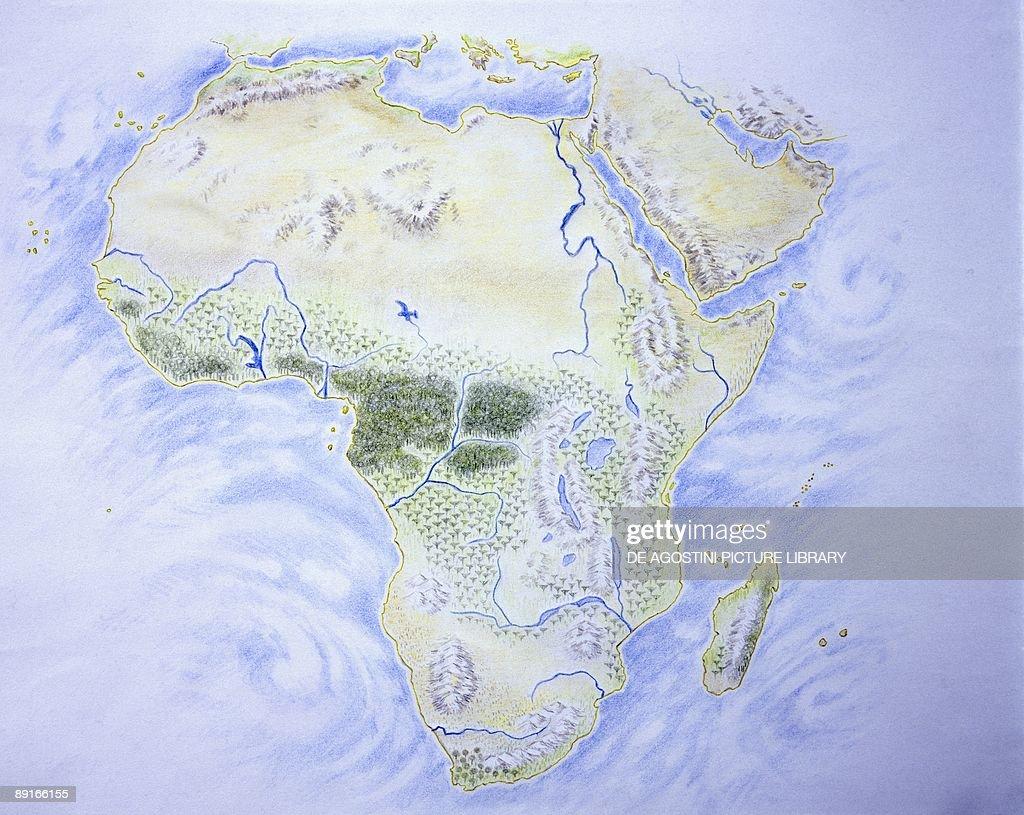 Map of Africa, illustration : News Photo
