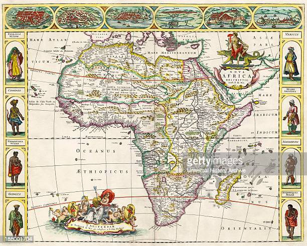 Map Of Africa In The 17Th Century Nova Africa Descriptio Published In Amsterdam In 1660S By Dutch Cartographer Frederik De Wit