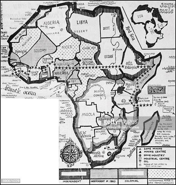 Map of Africa showing the independent states and European colonies in 1959