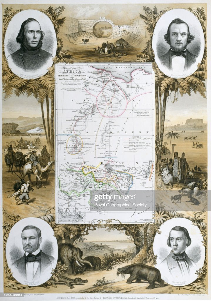 Map Of Africa Surrounded By Portraits Of Explorers And African News Photo - Getty -2230