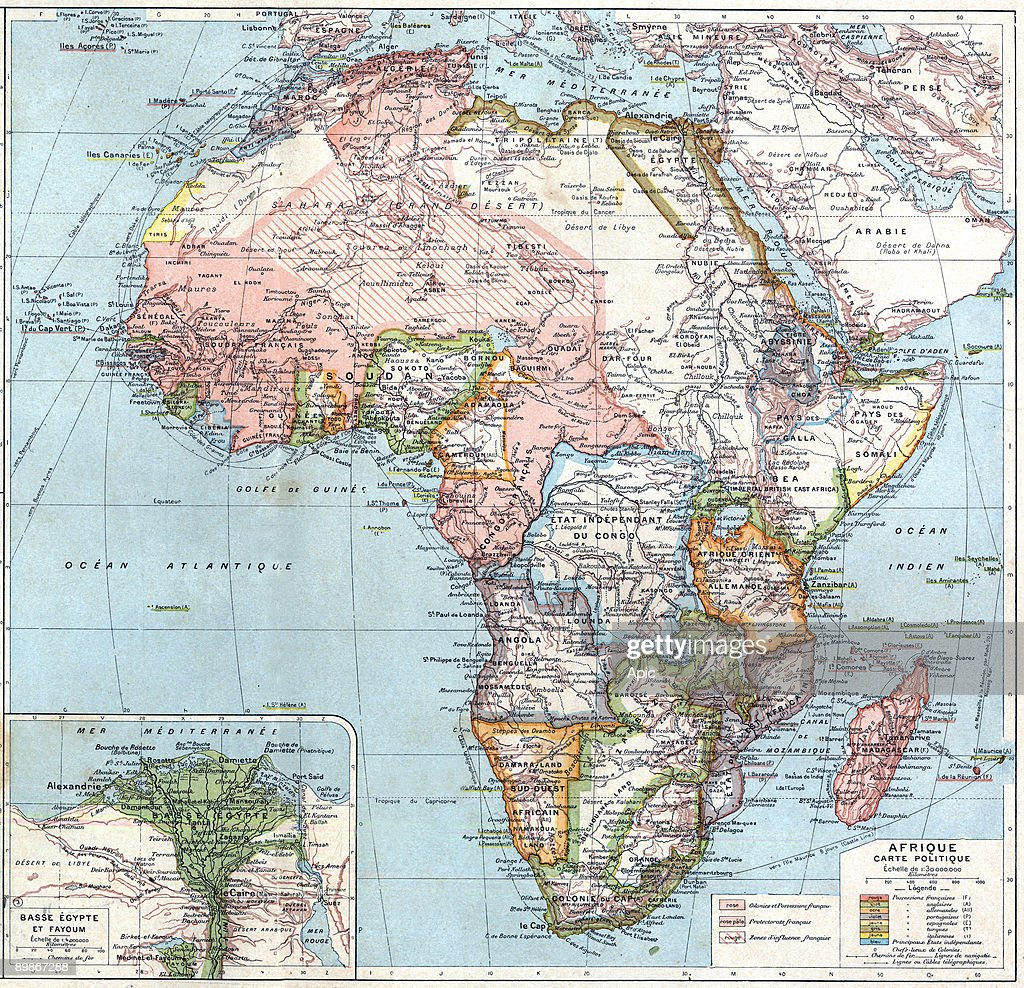 map of Africa with russian chinese and indian empires from Atlas