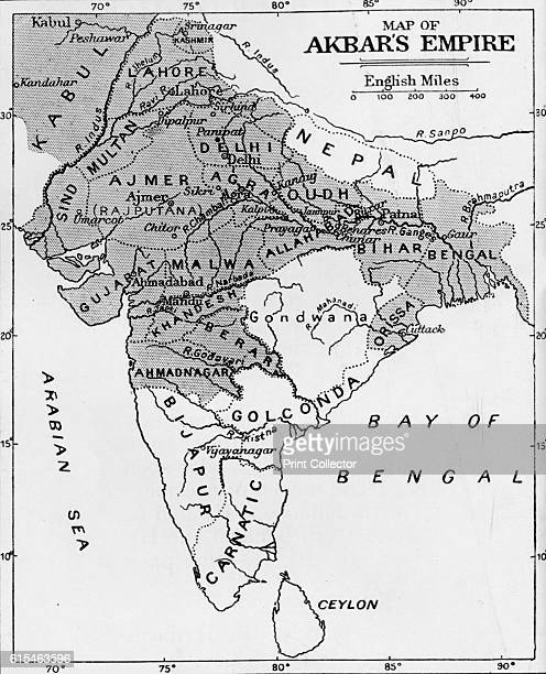 Map of Akbar's Empire' c1912 A map showing the empire of Akbar the Great From The Romance of India edited by Herbert Strang [Hodder Stoughton London...