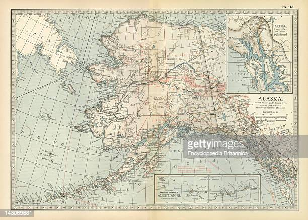 Map Of Alaska Map Of Alaska United States With Inset Maps Of Sitka And The Aleutian Islands Circa 1902 From The 10Th Edition Of Encyclopaedia...