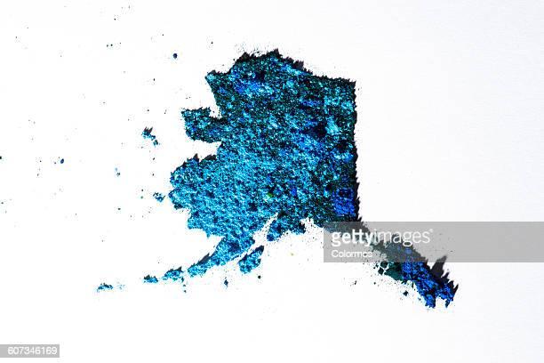 Map of Alaska, USA with colored powder