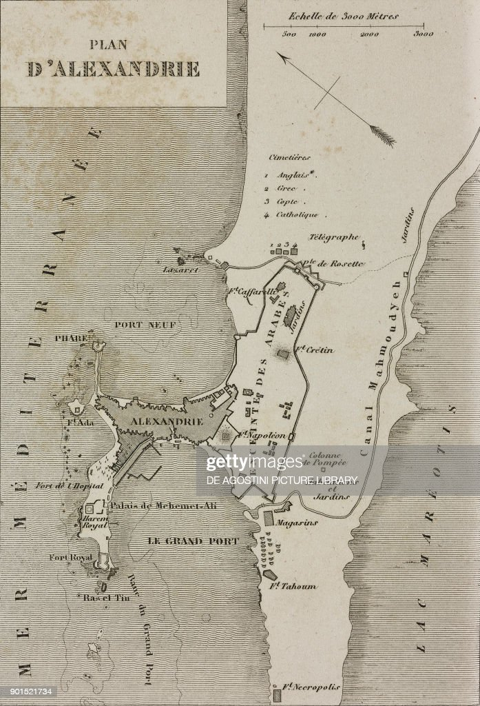 map of alexandria egypt engraving from egypte depuis la conquete des arabes jusque a