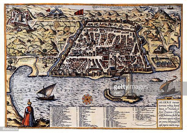 Map of Algiers Algeria late 16th century engraving