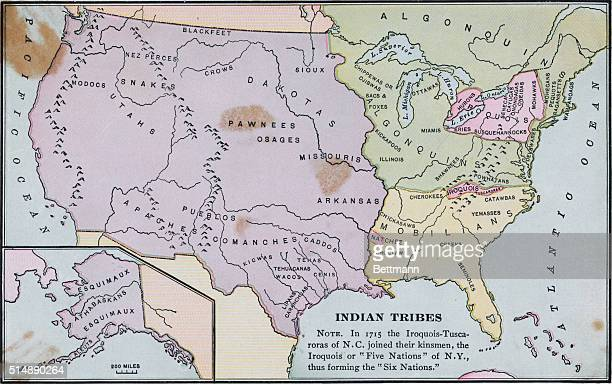 Map of America labeled with indigenous Indian Tribes The IroquoisTuscaroras of NC joined their kinsmen the Iroquois or Five Nations of NY thus...