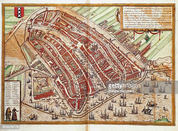 Map of Amsterdam engraving from 'Civitates Orbis Terrarum' by Georg Braun and Frans Hogenberg