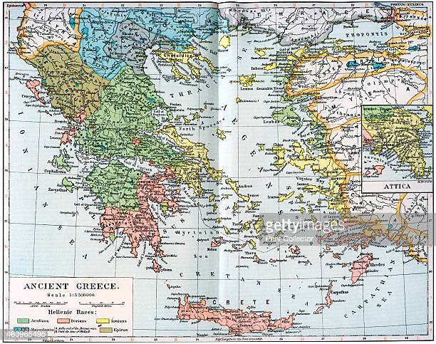 Map of Ancient Greece 1902 Illustration from 'The World's History The Mediterranean Nations by Dr H F Helmolt Volume IV published by William Heinemann
