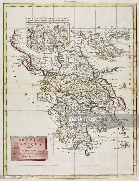 Map of ancient Greece, engraving from Atlante Novissimo , Volume IV, published by Antonio Zatta, Venice, 1775-1799.