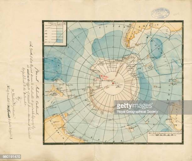 Map of Antarctica showing routes of Amundsen's and Shirase's expeditions Original title of map 'Present Antarctic Continent … to illustrate the...
