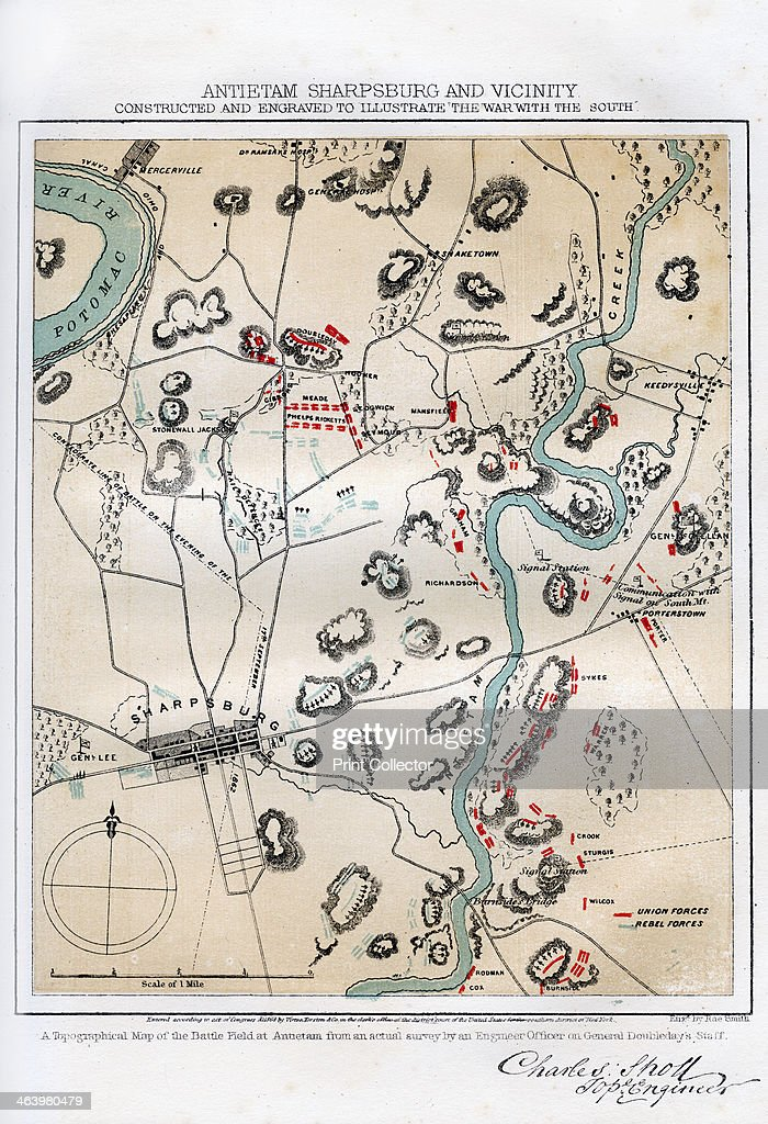 map of antietam sharpsburg and vicinity maryland 1862 18621867