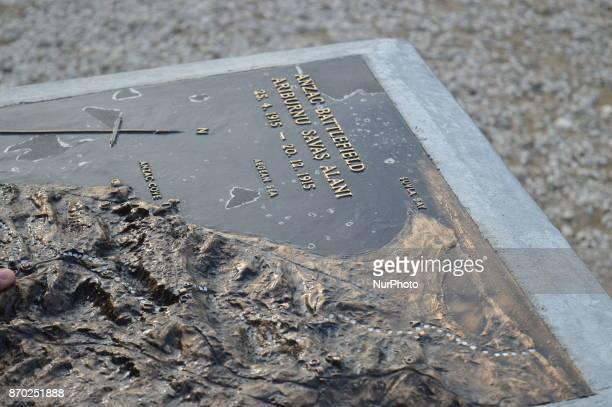 A map of Anzac Battlefield of New Zealand is seen at Chunuk Bair on the Gallipoli peninsula in Canakkale Turkey on November 4 2017 ''Turkey is...