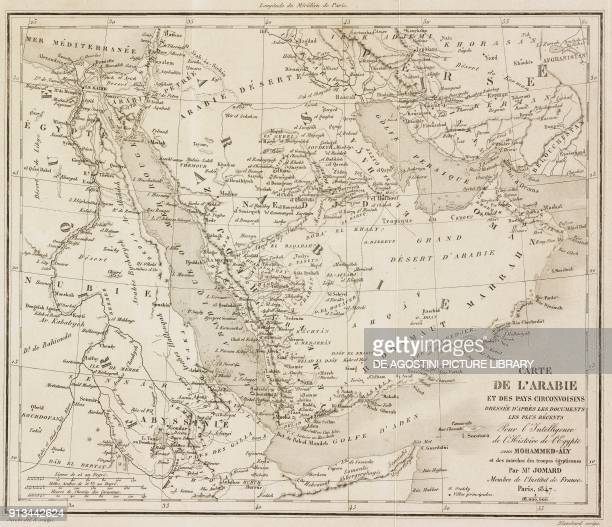 Map of Arabia and surrounding countries engraving by Blanchard from Arabie by Noel Desvergers avec une carte de l'Arabie et note by Jomard L'Univers...