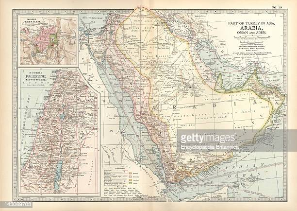 Map Of Arabia With Part Of Turkey And Oman Map Of Arabia Turkey Oman Aden With Insets Map Of Jerusalem And Palestine Circa 1902 From The 10Th Edition...