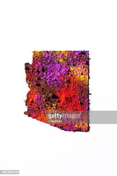 Map of Arizona, USA with colored powder