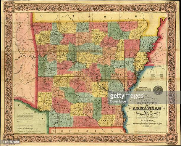 Map of Arkansas 1854 Illustrated by DFShall and published by JH Colton