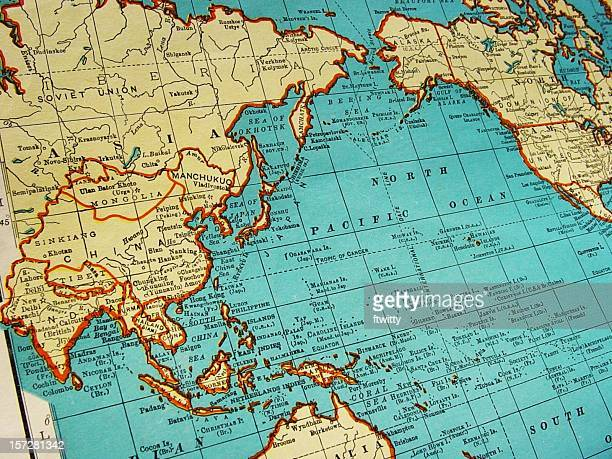 map of asia 1942 - pacific ocean stock photos and pictures